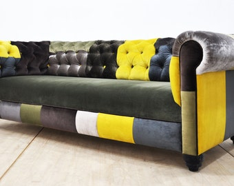 Chesterfield patchwork sofa - green