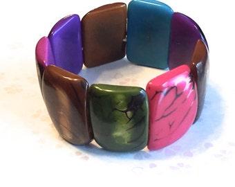 Colorful Tagua Bracelet /Tagua Jewelry, Boho Jewelry, Boho chic, Summer Fashion, Festival Fashion