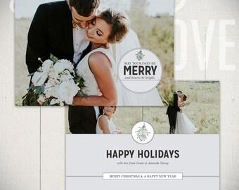 Christmas Card Template: Mistletoe A - 5x7 Holiday Card Template for Photographers