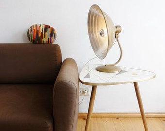 Upcycled Mid Century Large Desk Lamp Out of an Old Heating Lamp Unit