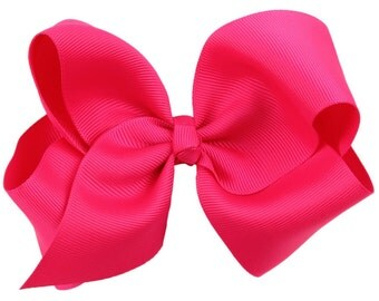 "Hot Pink Hair Bow / 5"" BIG Bow / Flower Girl / Photo Prop / Pageant / Birthday / Baptism / Infant / Baby / Girl / Toddler / Custom Boutique"