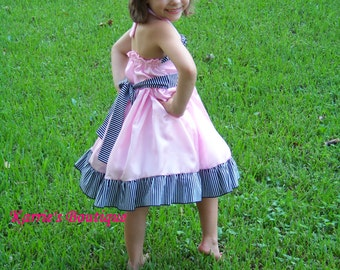 Halter Style Dress / Pink / Satin / Flower Girl Dress / Pageant / Wedding / Bridesmaid / Infant / Baby / Girl / Toddler / Custom Boutique