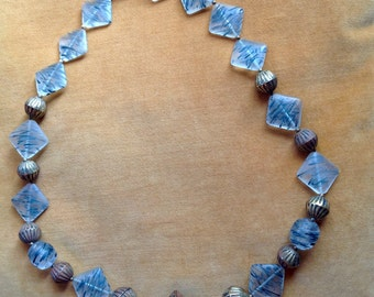 Chunky Brass and Ice Bead Necklace