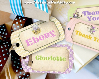 Nursery Rhyme Pastel Party Tags - INSTANT DOWNLOAD - Editable & Printable Party Decorations by Sassaby