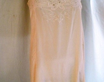 1930's Teddy Vintage Peach Silk Lingerie with Embroidery Button Crotch Old Hollywood Flapper