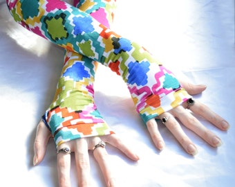 Arm Warmers Rainbow Crosses Fingerless Glove cotton gothic gypsy traveller dark circus Cross crucifix belly dance hippie emo goth burlesque