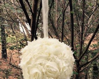 Kissing Ball -Flower Girl Pomander -Shabby Chic Centerpiece -Wedding Decoration -DIY Wedding Accessory -Church Aisle Decor