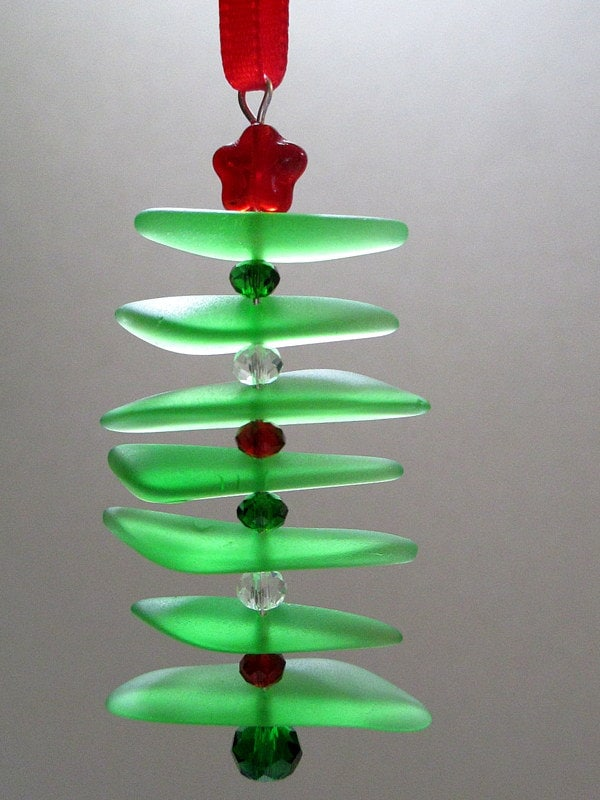Sea Glass Ornament Green Red Seaglass Christmas Tree