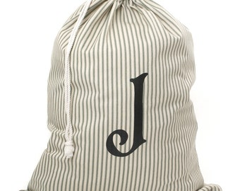 SALE! Monogrammed Laundry Bag, Red or Green Striped