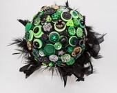 SALE Green & Black Button Wedding Alternative Bouquet