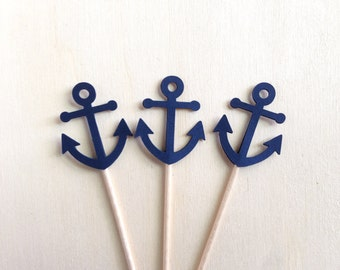 Mini Nautical Anchor Cupcake Toppers, Mini Cupcake Toppers, Shower, Wedding, Party Decor, Navy Blue, Double-Sided, Set of 18