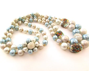 SALE Atomic Era Double Strand Beaded Necklace - Mid Century Japan - Glass Millefiori Beads - Blue and Gray Pearls