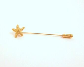 Trifari Starfish Stick Pin - Gold Tone Pin - Nautical Summer Jewelry / Vintage Trifari Jewelry