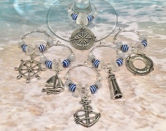 6 Nautical Wine Glass Charms, Wine Glass Favors, Barware, Nautical Gifts, Wine Lover Gifts, Nautical Bar Accessories, Nautical Wine Charms