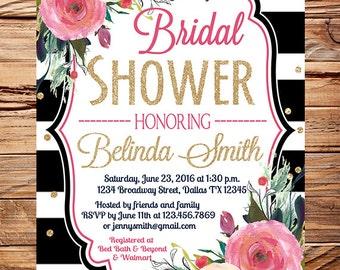 Roses Bridal Shower Invitation, black stripes, gold, glitter confetti, pink peach roses wedding, roses bridal shower invitation, 5348