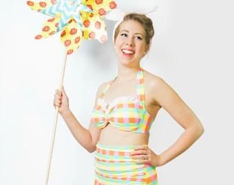 "Vintage High Waist Gingham Swimsuit - ""Minnie"""