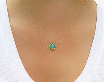 Chrysoprase  Necklace - Pendant Necklace - Chrysoprase Necklace - Chrysoprase Jewelry