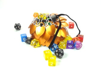 Dungeons And Dragons Medium Orange Dice Bag Chainmaille & Scales - Aluminum - SKDB-SC-M-OR