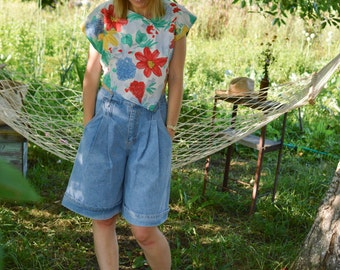 High Waisted Denim Palazzo Shorts Vintage 80's