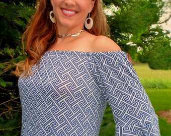 Women's Off the Shoulder Top pdf sewing pattern; off shoulder cold shoulder pdf sewing pattern for women, womens pattern; shirt pattern; pdf