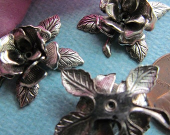 6 Silver Cabbage Rose And Leaf Metal Finding