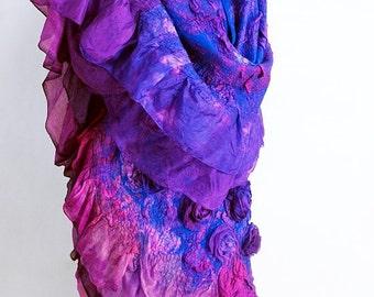 """Shawl boho handmade felted """"Indigo"""" (shawls boho-chic felted handmade buy)"""