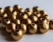 25pcs Matt Gold Wooden Round Spacer Beads - Metallic Golden - approx 10mm