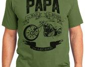 Papa The Legend Lowrider Motorcycle Men's T-shirt Short Sleeve 100% Cotton S-2XL Great Gift (T-DA-24)