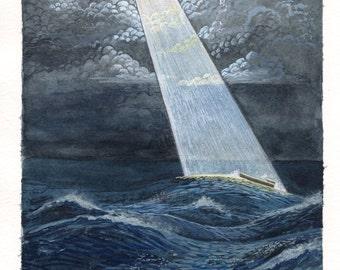 "Noahs Ark - Original Watercolor Painting - Christian Wall Art - 11""×7.5"""