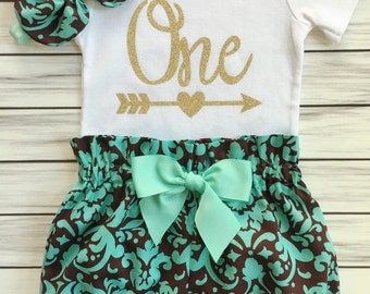 Girls 1st Birthday Onesie Outfit, Bloomers, Shabby Chic Vintage Fabric Knot Headband, One Gold with Arrow Carters Onesie, Baby Girl Outfit