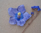 Purple hibiscus ring dish - Purple flower ring catcher -  Ceramic ring holder - Handbuilt earthenware jewellery holder