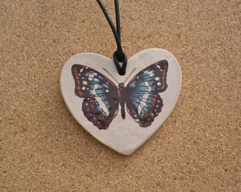 Ceramic heart pendant with butterfly decal - Necklace with leather cord - two-sided: Solar eclipse red heart or black butterfly