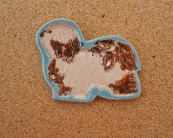 Havanese dog brooch - Ceramic dog pin - Cream and brown dog with turquoise border