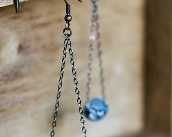 Floral Bead Dangle Earrings Bohemian Chain Dangles Blue Bead Earrings Vintage Inspired Long Chain Batik Blue Floral Drop Earrings - E315