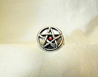 Silver Pentagram Ring, With Red Rhinestone Womens Mens Gift  Handmade