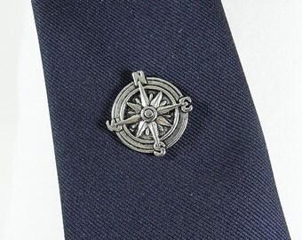 Tie Tack Pin, Nautical Steampunk Compass Silver Mens Accessories Handmade