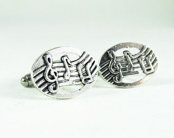 Silver Cuff Links,  Music Note Mens Accessories  Handmade