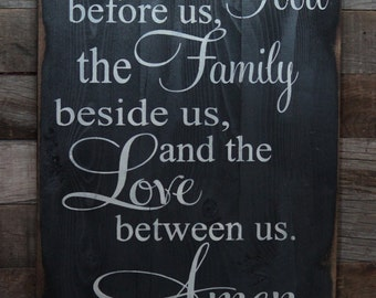 Large Wood Sign - Bless the Food Before Us, the Family Beside Us, the Love Between Us,  Amen - Subway Sign - Farmhouse Sign - Home Decor