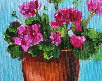 Original oil painting:  Pink and Teal  Geraniums   deep canvas, floral, small painting, kitchen art