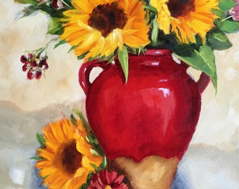 GICLEE print:   Sunflowers In Red Vase, original oil on canvas, French country, Tuscan, kitchen art
