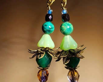 Green blue and purple floral fairy drops