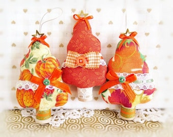 Fabric Tree Ornaments, Set of  3 Trees Onaments, Autumn Fall Halloween Bowl Fillers Primitive Favors Decorations CharlotteStyle Home Decor