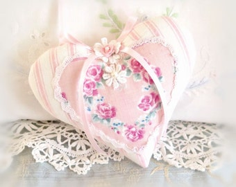 "Pink Heart, Home Decor Heart Ornament 5"" Door Hanger Heart, Pink Stripes & Floral, Handmade CharlotteStyle Decorative Folk Art"