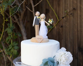 Anniversary Cake Topper- Handmade Keepsake Anniversary Wedding Topper- custom made wood bride and groom