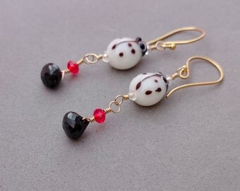 Black And White Earrings - Ladybird Earrings with Spinel, Red Swarovski Crystal, Glass and Gold Fill