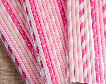 Mix di 25 cannucce sui toni del rosa e fucsia - 25 Mix Party Paper Straws