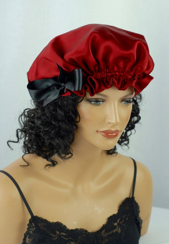 Mulberry Silk Sleep Bonnet Garnet Charmeuse Fully Adjustable