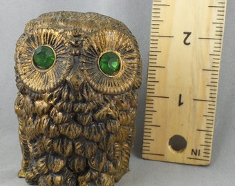 Vintage Resin Owl Sculpture Green Gem Eyes Made in Italy Italian