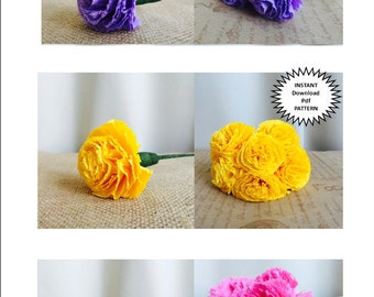 Paper Craft Pdf Pattern DIY Paper Flowers DIY Craft Tutorial Instructions Paper Carnation Wedding DIY Flower Bouquet Party Decor Home Decor