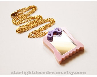 SALE Pink Dream Mirror Acrylic Necklace Sailor Moon Inspired for Mahou Kei & Magical Girl Fashion